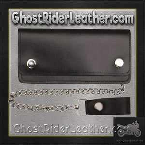 6 inch Black Leather Chain Wallet / Bifold / SKU GRL-AL3201-AL - Ghost Rider Leather