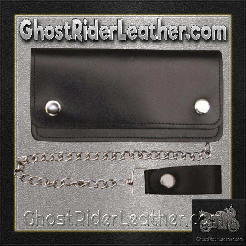6 inch Black Leather Chain Wallet / Bifold / SKU GRL-AL3201-AL-chain wallet-Ghost Rider Leather