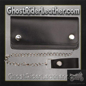 8 inch Black Leather Chain Wallet / Bifold / SKU GRL-AL3202-AL - Ghost Rider Leather