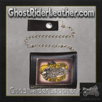 4 inch Black Leather Chain Wallet with Live To Ride / Tri-fold / SKU GRL-AL3273-AL - Ghost Rider Leather