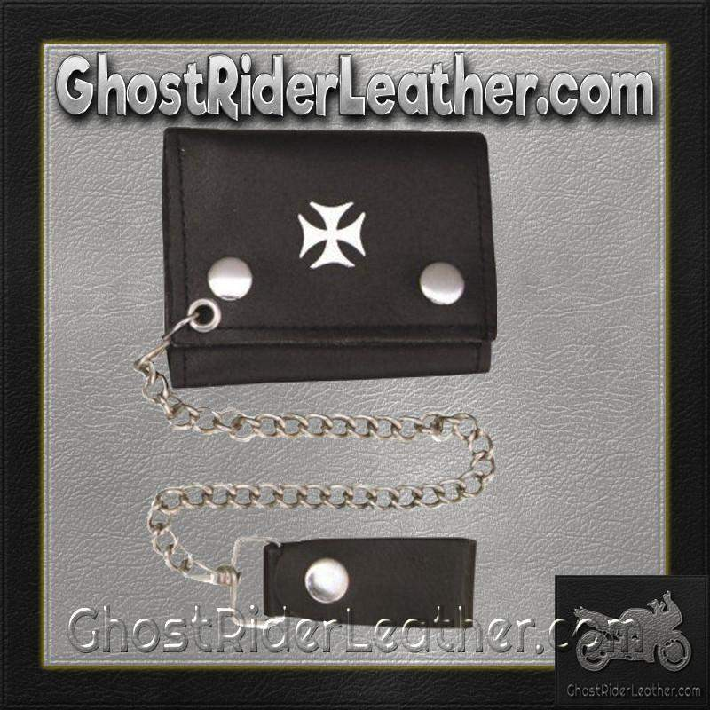4 inch Black Leather Chain Wallet with Iron Cross / Tri-fold / SKU GRL-AL3276-AL - Ghost Rider Leather