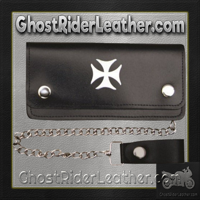6 inch Black Leather Chain Wallet with Iron Cross / Bi-fold / SKU GRL-AL3283-AL - Ghost Rider Leather