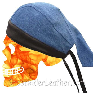 Blue Denim Skull Cap with Black Leather Trim / SKU GRL-AL3398-AL-leather skull cap-Ghost Rider Leather