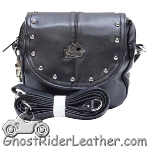 Ladies Studded PVC Bag with Playing Cards Design - Handbag - SKU GRL-BAG20-DL