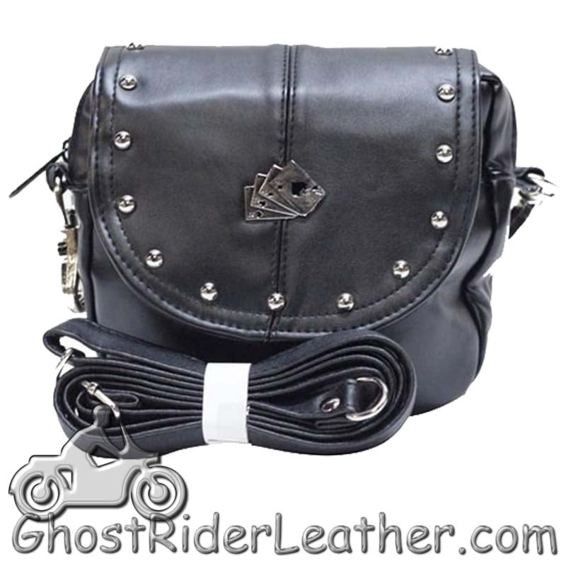 Ladies Studded PVC Bag with Playing Cards Design - Handbag - SKU GRL-BAG20-DL - Ghost Rider Leather