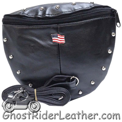 Ladies Studded PVC Bag with American Flag Design - Handbag - SKU GRL-BAG22-DL