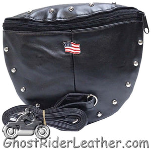 Ladies Studded PVC Bag with American Flag Design - Handbag - SKU GRL-BAG22-DL - Ghost Rider Leather