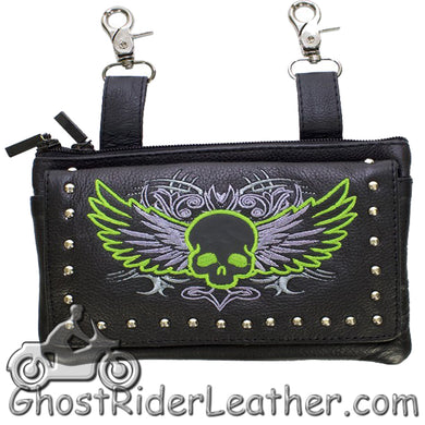 Ladies Naked Leather Belt Bag with Lime Green Flying Skull Design - Handbag - SKU GRL-BAG35-EBL10-LIME-DL