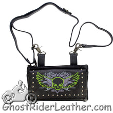 Ladies Naked Leather Belt Bag with Lime Green Flying Skull Design - Handbag - SKU GRL-BAG35-EBL10-LIME-DL - Ghost Rider Leather