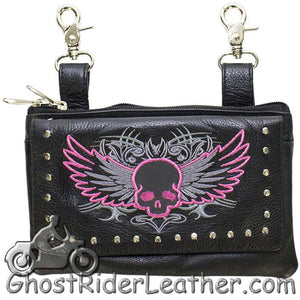 Ladies Naked Leather Belt Bag with Pink Flying Skull Design - Handbag - SKU GRL-BAG35-EBL10-PINK-DL