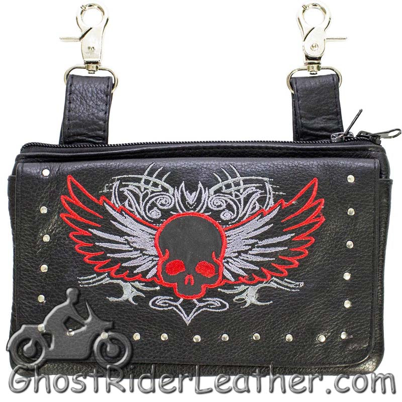 Ladies Naked Leather Belt Bag with Red Flying Skull Design - Handbag - SKU GRL-BAG35-EBL10-RED-DL - Ghost Rider Leather