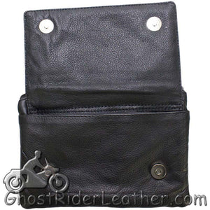 Ladies Naked Leather Belt Bag with Pink Flying Skull Design - Handbag - SKU GRL-BAG35-EBL10-PINK-DL - Ghost Rider Leather