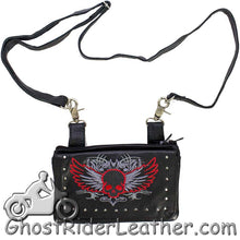 Ladies Naked Leather Belt Bag with Red Flying Skull Design - Handbag - SKU GRL-BAG35-EBL10-RED-DL