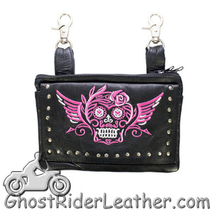 Ladies Naked Leather Belt Bag with Pink Sugar Skull Design - Handbag - SKU GRL-BAG35-EBL19-PINK-DL - Ghost Rider Leather