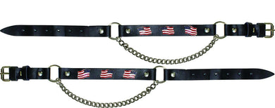 Pair of Biker Boot Chains - American Flag - SKU GRL-BC6-DL - Ghost Rider Leather