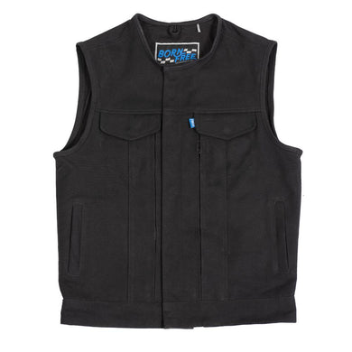 Born Free Fairfax V2 Mens Canvas Motorcycle Vest - BFM637CNVS - Ghost Rider Leather
