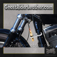 Bullet Shaped LED Light Mounts To Motorcycle Frame / SKU GRL-BKLED-BN-motorcycle cup holder-Ghost Rider Leather