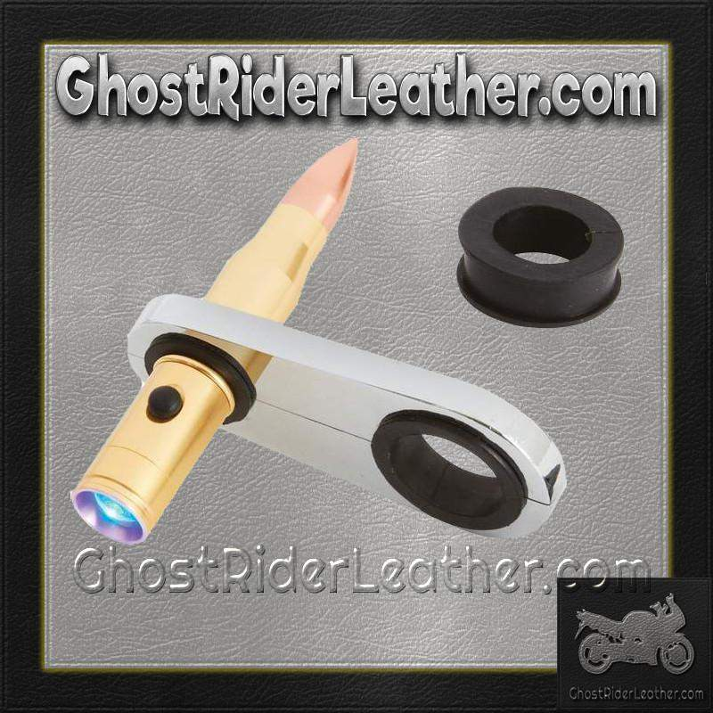 Bullet Shaped LED Light Mounts To Motorcycle Frame / SKU GRL-BKLED-BN - Ghost Rider Leather