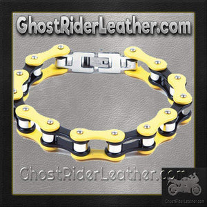 Yellow and Black Motorcycle Stainless Steel Chain Bracelet - SKU GRL-BR23-DL - Ghost Rider Leather