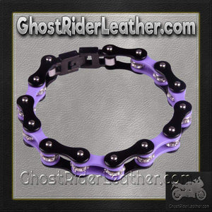 Black and Purple Motorcycle Chain Bracelet with Gemstones / SKU GRL-BR35-DL - Ghost Rider Leather