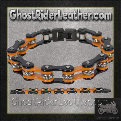 Black and Orange Motorcycle Chain Bracelet with Gemstones / SKU GRL-BR36-DL-biker boot chains-Ghost Rider Leather