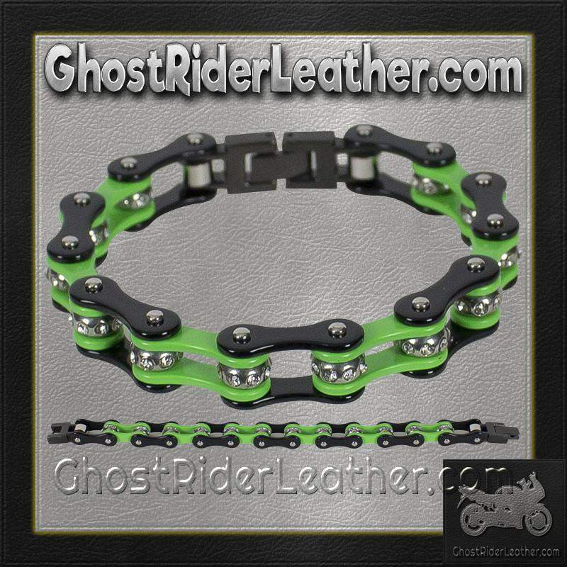 Black and Green Motorcycle Chain Bracelet with Gemstones / SKU GRL-BR37-DL-biker boot chains-Ghost Rider Leather