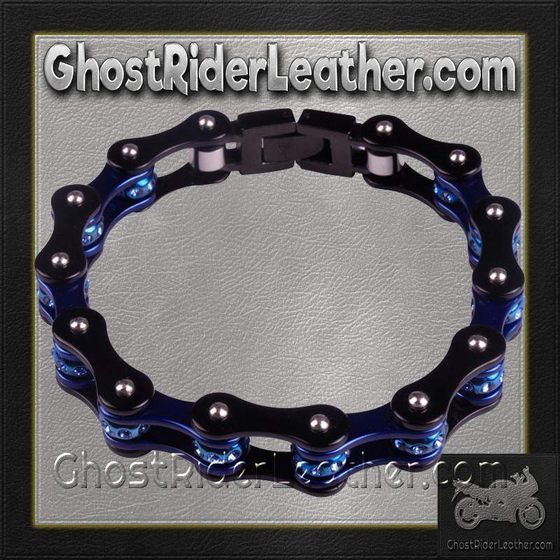 Black and Blue Motorcycle Chain Bracelet with Gemstones / SKU GRL-BR42-DL-biker boot chains-Ghost Rider Leather