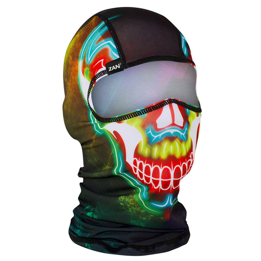Balaclava Full Face Mask - Electric Skull Design - SKU GRL-ELECTRICSKULL-BALA-HI - Ghost Rider Leather
