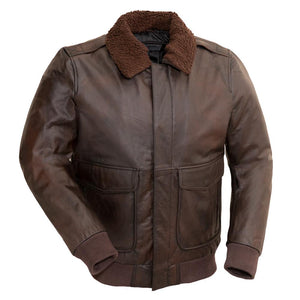 Bomber - Men's Leather Bomber Jacket with Faux Shearling Collar - FMM219BP - Ghost Rider Leather