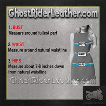 Ladies Zip Front Leather Corset With Lace Up Detail / SKU GRL-L3139-EML-Ladies Vest-Ghost Rider Leather