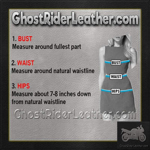 Ladies Lace Up Leather Mini Dress / SKU GRL-L8103-EML-Ladies Vest-Ghost Rider Leather
