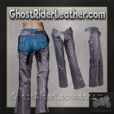 Ladies Low Rise Leather Chaps in Naked Leather / SKU GRL-C1003-DL-leather chaps-Ghost Rider Leather