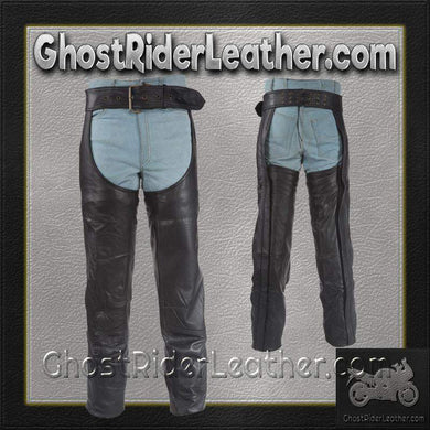 Heavy Duty Motorcycle Leather Chaps With Zipper Pocket for Men or Women / SKU GRL-C3000-DL - Ghost Rider Leather