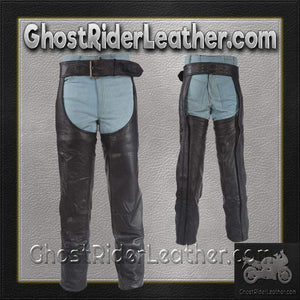 Heavy Duty Motorcycle Leather Chaps With Zipper Pocket for Men or Women - SKU GRL-C3000-01/11-DL - Ghost Rider Leather