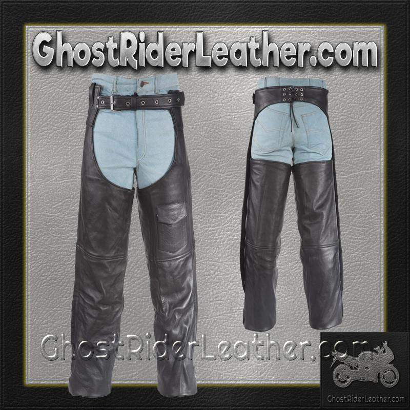 Plain Motorcycle Leather Chaps for Men or Women / SKU GRL-C325-DL