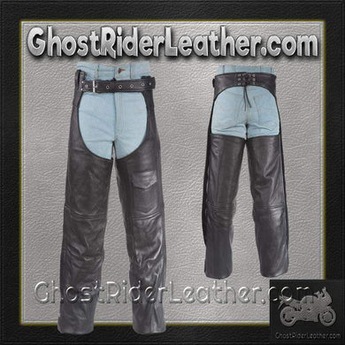 Plain Motorcycle Leather Chaps for Men or Women - SKU GRL-C325-04-DL - Ghost Rider Leather