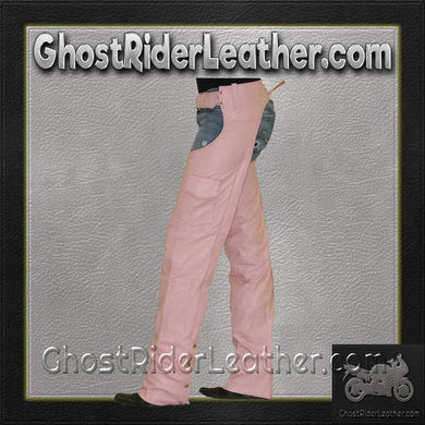 Ladies Pink Leather Motorcycle Chaps With Pocket  / SKU GRL-C325-PINK-DL - Ghost Rider Leather
