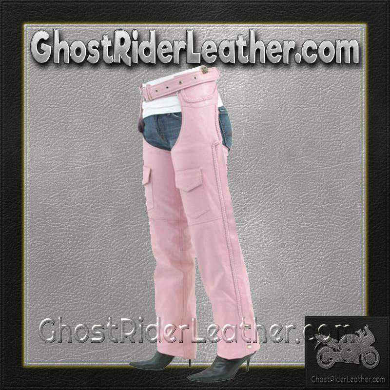 Ladies Pink Leather Motorcycle Chaps With Braid Design - SKU GRL-C326-PINK-DL - Ghost Rider Leather