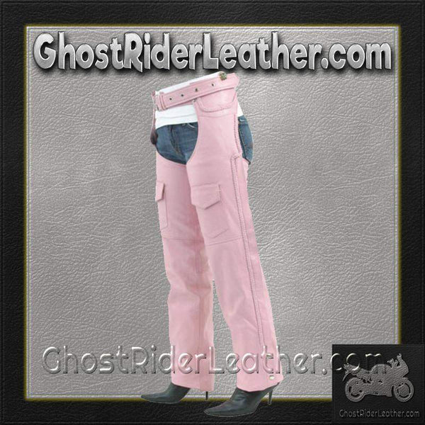Ladies Pink Leather Motorcycle Chaps With Braid Design / SKU GRL-C326-PINK-DL-leather chaps-Ghost Rider Leather