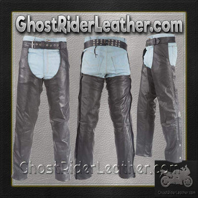 Biker Leather Chaps With Thigh Stretch for Men or Women - SKU GRL-C332-01-DL - Ghost Rider Leather