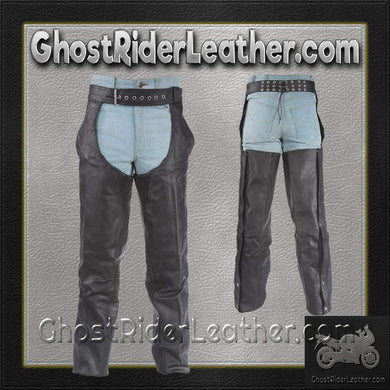 Braided Leather Chaps With Thigh Stretch for Men or Women / SKU GRL-C336-DL-leather chaps-Ghost Rider Leather