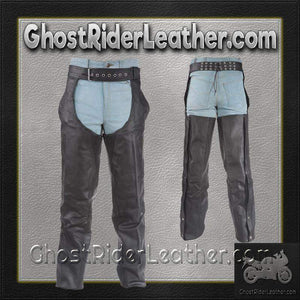 Braided Leather Chaps With Thigh Stretch for Men or Women - SKU GRL-C336-DL - Ghost Rider Leather