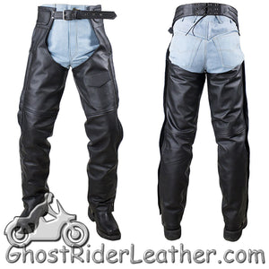 Naked Leather Chaps with Braid Design for Men or Women - SKU GRL-C4326-11-DL - Ghost Rider Leather