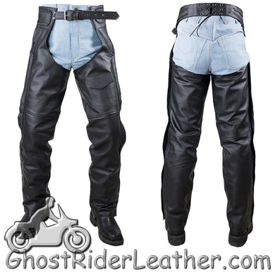 Split Leather Chaps with Braid Design for Men or Women - SKU GRL-C4326-04-DL - Ghost Rider Leather