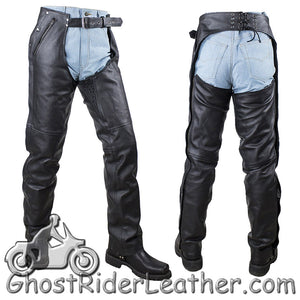 Mens or Ladies Unisex Leather Chaps with Removable Liner - Premium Naked Leather - SKU GRL-C4334-11-DL - Ghost Rider Leather