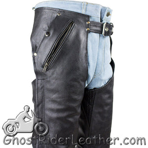 Mens or Ladies Unisex Leather Chaps with Removable Liner - Premium Naked Leather - SKU GRL-C4334-11-DL
