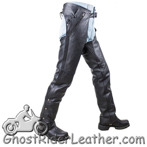 Mens or Ladies Unisex Leather Chaps with Removable Liner - Split Cowhide - SKU GRL-C4334-04-DL