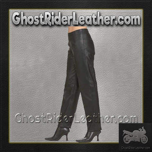 Ladies Hip Hugger Straight Leg Leather Pants / SKU C503-DL-leather chaps-Ghost Rider Leather
