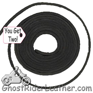 You Get TWO - 6 Foot Lengths of Black Leather Lacing SKU GRL-CE3-BLACK-X2-GRL - Ghost Rider Leather