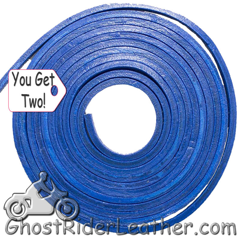 You Get TWO - 6 Foot Lengths of Blue Leather Lacing SKU GRL-CE3-BLUE-X2-GRL